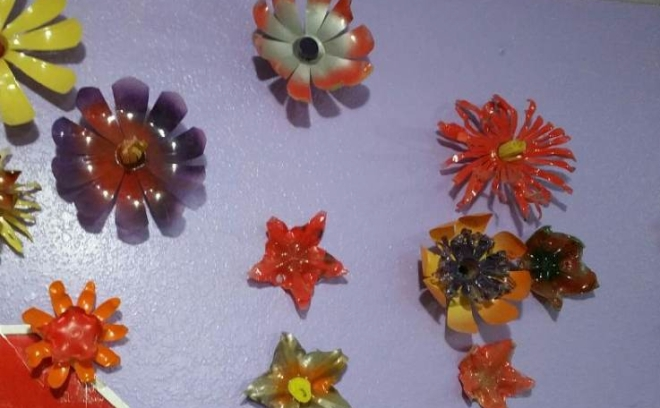 Flowers made from plastic bottles